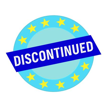 discontinued: discontinued white wording on blue Rectangle and Circle blue stars