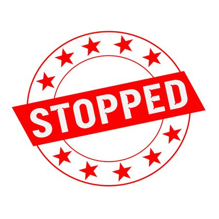 stopped: STOPPED white wording on red Rectangle and Circle red stars