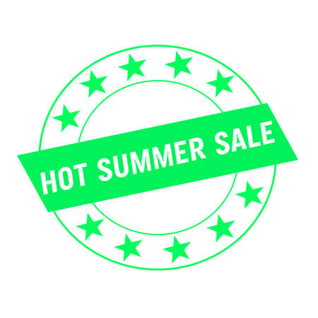 green stars: hot summer sale white wording on green Rectangle and Circle green stars Stock Photo