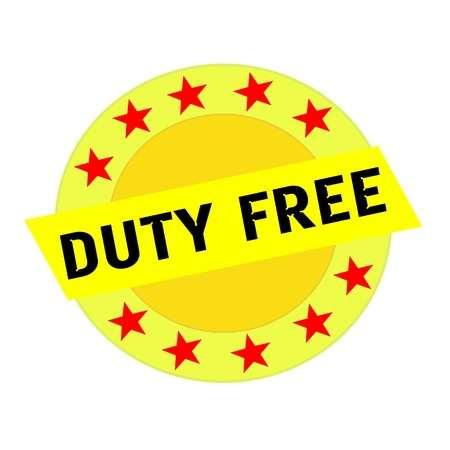 duty free: Duty free black wording on yellow Rectangle and Circle yellow stars