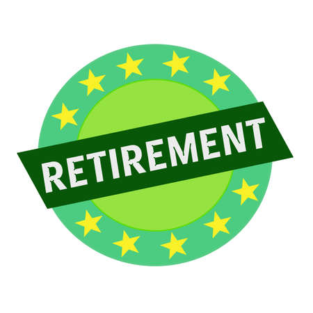 green stars: RETIREMENT white wording on green Rectangle and Circle green stars