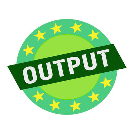 output: Output white wording on green Rectangle and Circle green stars Stock Photo