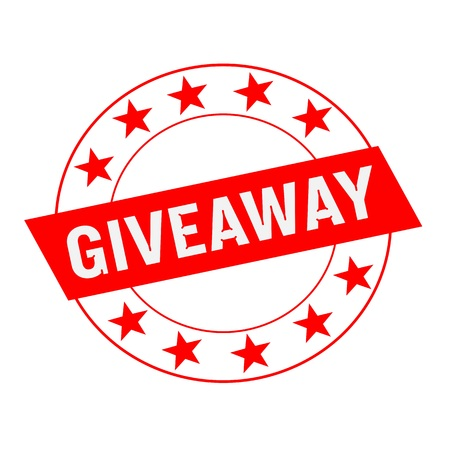 giveaway: Giveaway white wording on red Rectangle and Circle red stars Stock Photo