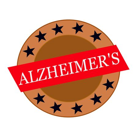 alzheimers: ALZHEIMERS white wording on Red Rectangle and Circle brown stars