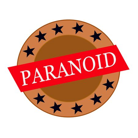 paranoid: PARANOID white wording on Red Rectangle and Circle brown stars