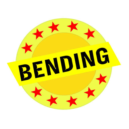 bending: Bending black wording on yellow Rectangle and Circle yellow stars