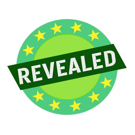 revealed: REVEALED white wording on green Rectangle and Circle green stars