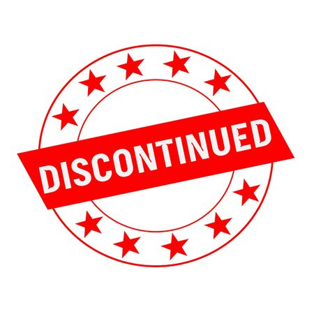 discontinued: Discontinued white wording on red Rectangle and Circle red stars Stock Photo