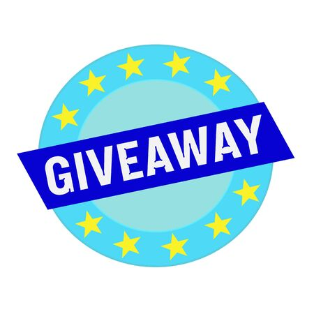 giveaway: giveaway white wording on blue Rectangle and Circle blue stars