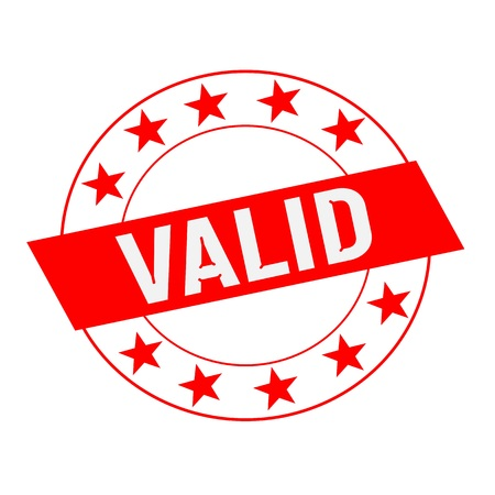 valid: VALID white wording on red Rectangle and Circle red stars Stock Photo