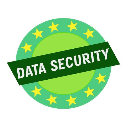 green stars: Data security white wording on green Rectangle and Circle green stars Stock Photo