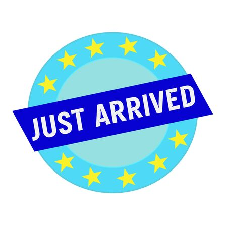 just arrived: just arrived white wording on blue Rectangle and Circle blue stars
