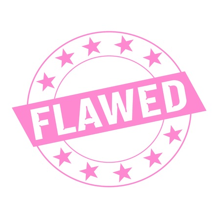 flawed: FLAWED white wording on pink Rectangle and Circle pink stars Stock Photo