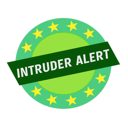 intruder: INTRUDER ALERT white wording on green Rectangle and Circle green stars Stock Photo