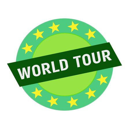 green stars: WORLD TOUR white wording on green Rectangle and Circle green stars