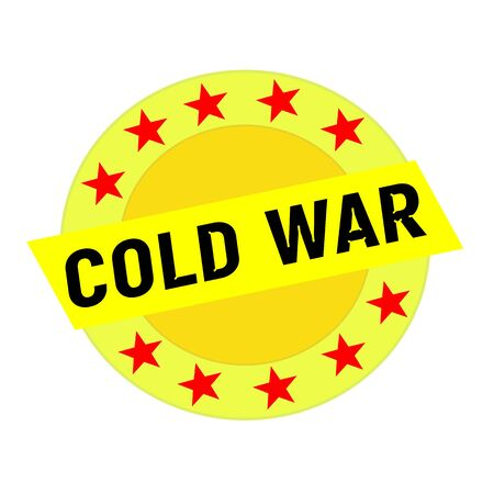cold war: Cold war black wording on yellow Rectangle and Circle yellow stars
