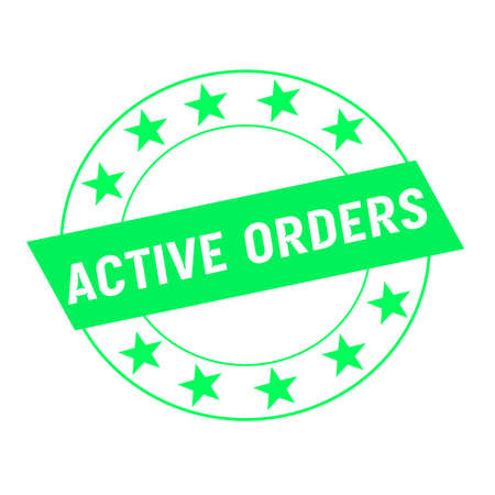 green stars: active orders white wording on green Rectangle and Circle green stars Stock Photo
