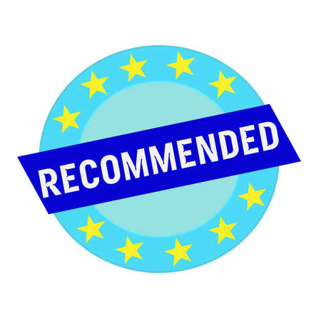 recommended: recommended white wording on blue Rectangle and Circle blue stars