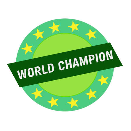 green stars: WORLD CHAMPION white wording on green Rectangle and Circle green stars