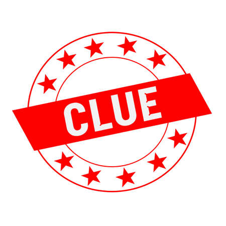 clue: Clue white wording on red Rectangle and Circle red stars Stock Photo