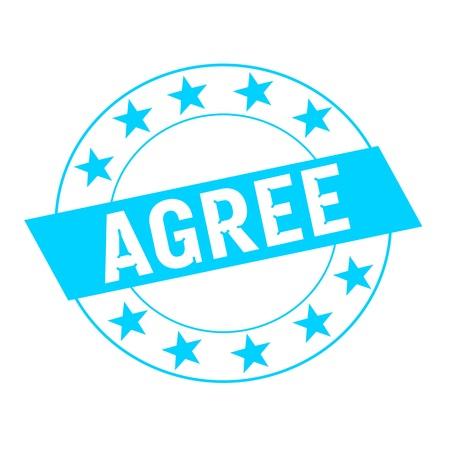agree: De acuerdo texto blanco sobre rectángulo azul y estrellas azules del círculo
