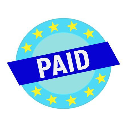 paid: paid white wording on blue Rectangle and Circle blue stars Stock Photo