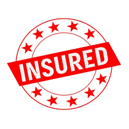 insured: Insured white wording on red Rectangle and Circle red stars