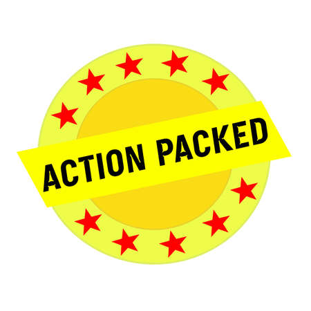 packed: ACTION PACKED black wording on yellow Rectangle and Circle yellow stars