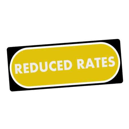 rates: reduced rates white wording on yellow background  black frame Stock Photo