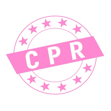 cpr: CPR white wording on pink Rectangle and Circle pink stars Stock Photo