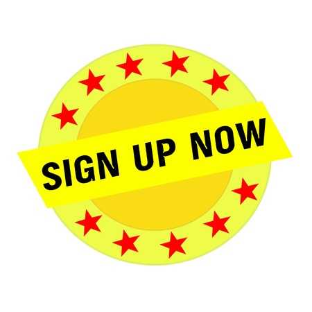 sign up: SIGN UP NOW black wording on yellow Rectangle and Circle yellow stars
