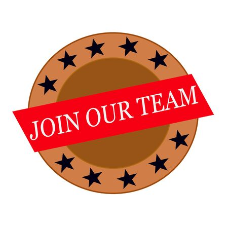 join our team: Join our team white wording on Red Rectangle and Circle brown stars