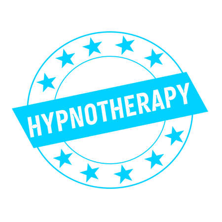 hypnotherapy: HYPNOTHERAPY white wording on blue Rectangle and Circle blue stars