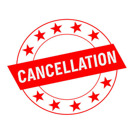 cancellation: CANCELLATION white wording on red Rectangle and Circle red stars
