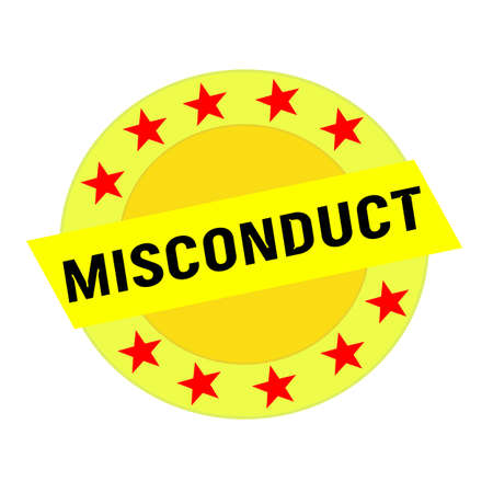 misconduct: MISCONDUCT black wording on yellow Rectangle and Circle yellow stars Stock Photo