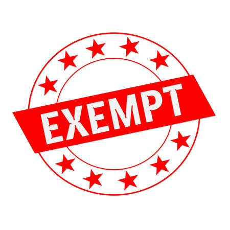 exempt: EXEMPT white wording on red Rectangle and Circle red stars Stock Photo