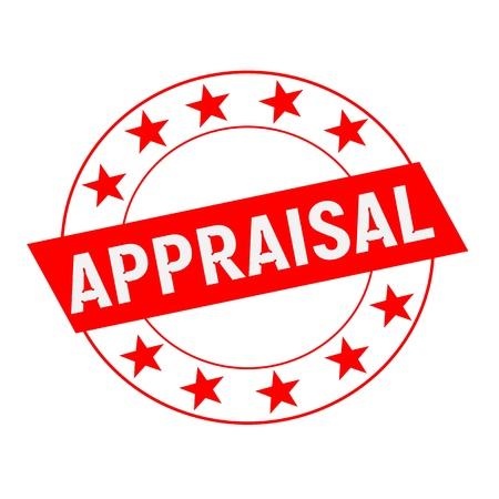 appraisal: APPRAISAL white wording on red Rectangle and Circle red stars