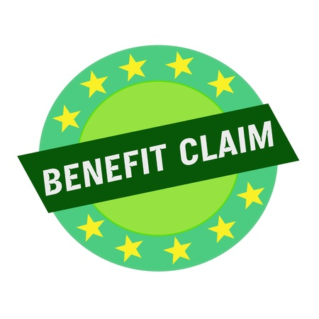 green stars: BENEFIT CLAIM white wording on green Rectangle and Circle green stars