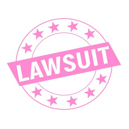 lawsuit: LAWSUIT white wording on pink Rectangle and Circle pink stars Stock Photo
