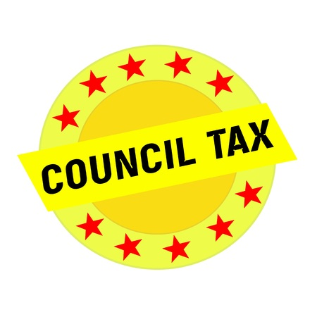council: COUNCIL TAX black wording on yellow Rectangle and Circle yellow stars