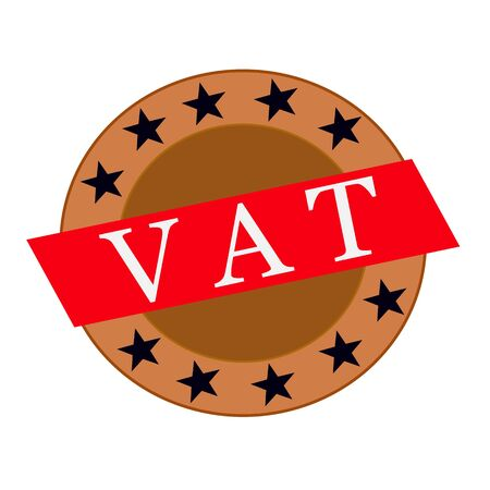 vat: Vat white wording on Red Rectangle and Circle brown stars Stock Photo