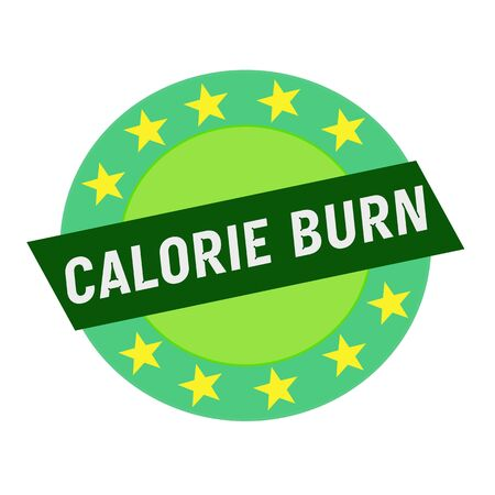 green stars: CALORIE BURN white wording on green Rectangle and Circle green stars Stock Photo