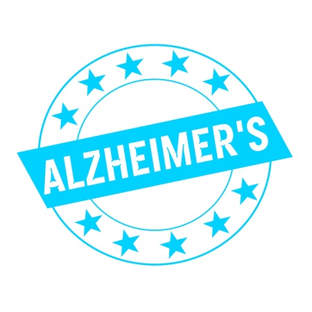 alzheimers: ALZHEIMERS white wording on blue Rectangle and Circle blue stars Stock Photo