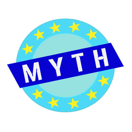 myth: MYTH white wording on blue Rectangle and Circle blue stars Stock Photo
