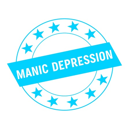 manic: MANIC DEPRESSION white wording on blue Rectangle and Circle blue stars