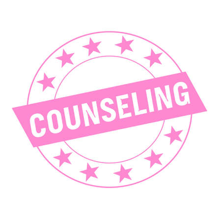 counseling: COUNSELING white wording on pink Rectangle and Circle pink stars