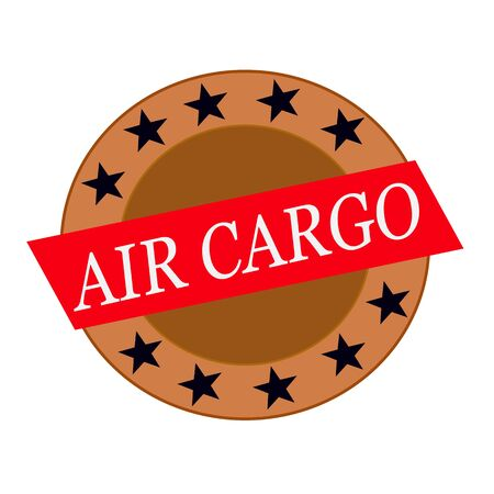 air cargo: air cargo white wording on Red Rectangle and Circle brown stars
