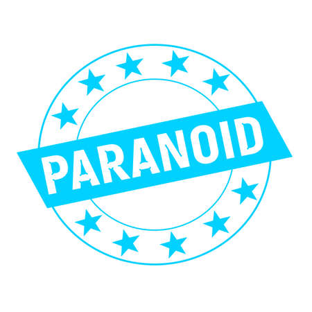 paranoid: PARANOID white wording on blue Rectangle and Circle blue stars