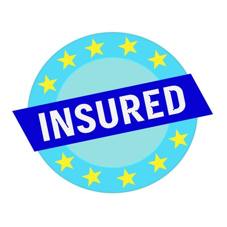 insured: insured white wording on blue Rectangle and Circle blue stars