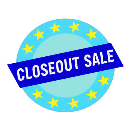 closeout: closeout sale white wording on blue Rectangle and Circle blue stars
